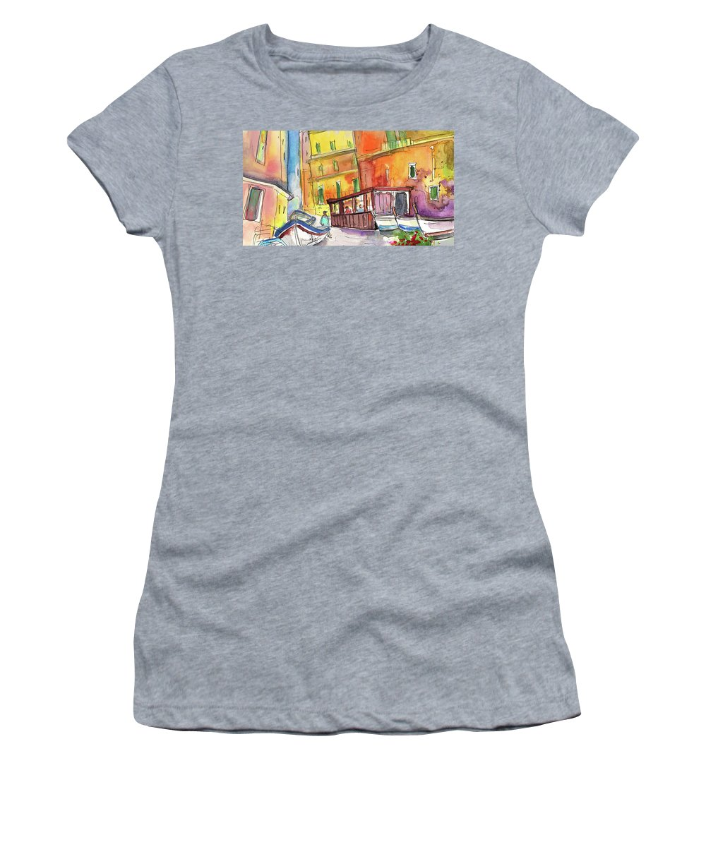 Italy Women's T-Shirt (Athletic Fit) featuring the painting Manorola In Italy 04 by Miki De Goodaboom