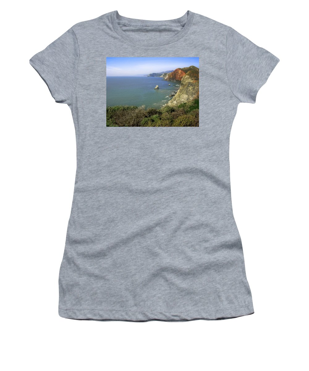 Ocean Women's T-Shirt (Athletic Fit) featuring the photograph Marin Headlands 1 by Karen W Meyer