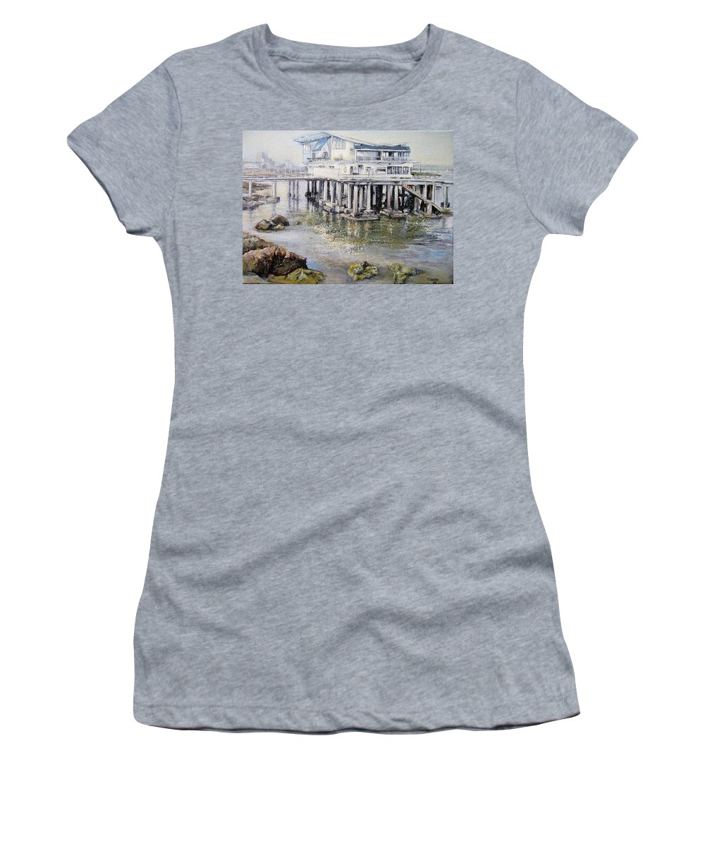 Maritim Women's T-Shirt featuring the painting Maritim Club Castro Urdiales by Tomas Castano