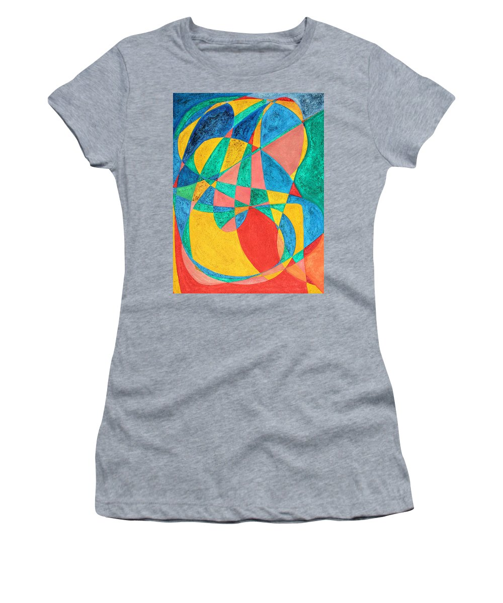 Abstract Women's T-Shirt (Athletic Fit) featuring the painting Massage In Abstract Word Art by Lee Serenethos