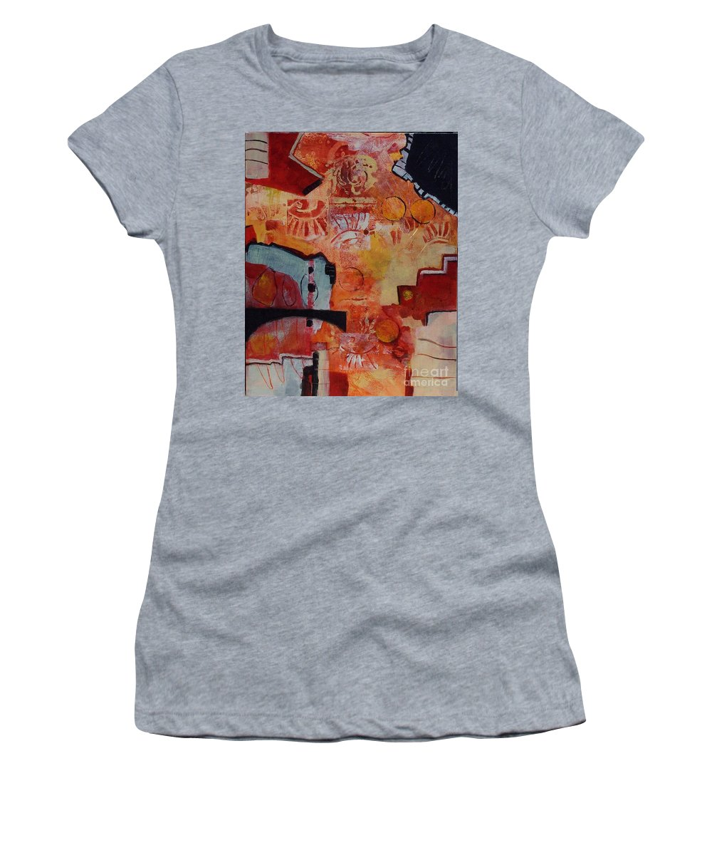 Abstract Expressionism Women's T-Shirt (Athletic Fit) featuring the painting Mayan Shaman by Donna Frost