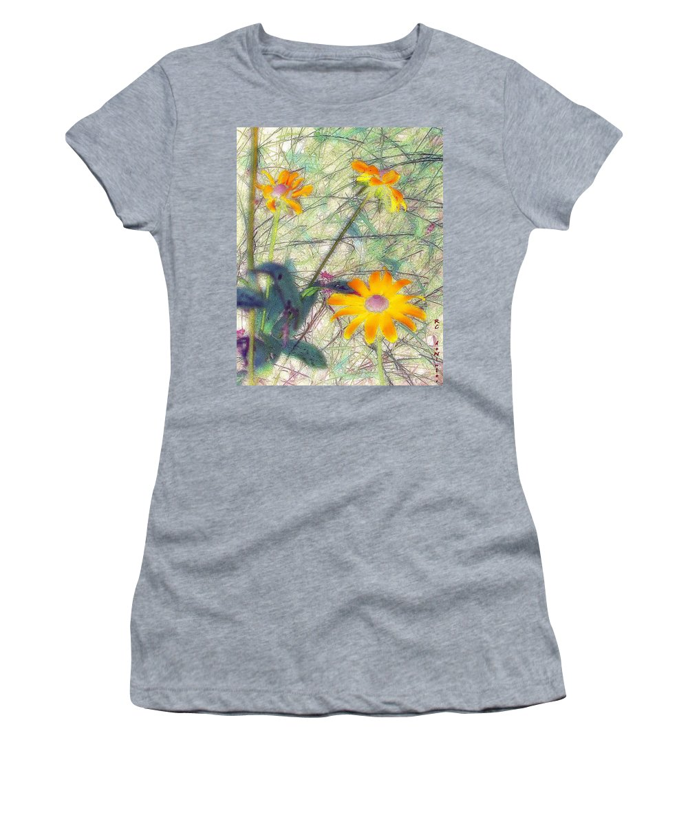 Bright Women's T-Shirt (Athletic Fit) featuring the painting Meadow Out Loud by RC DeWinter
