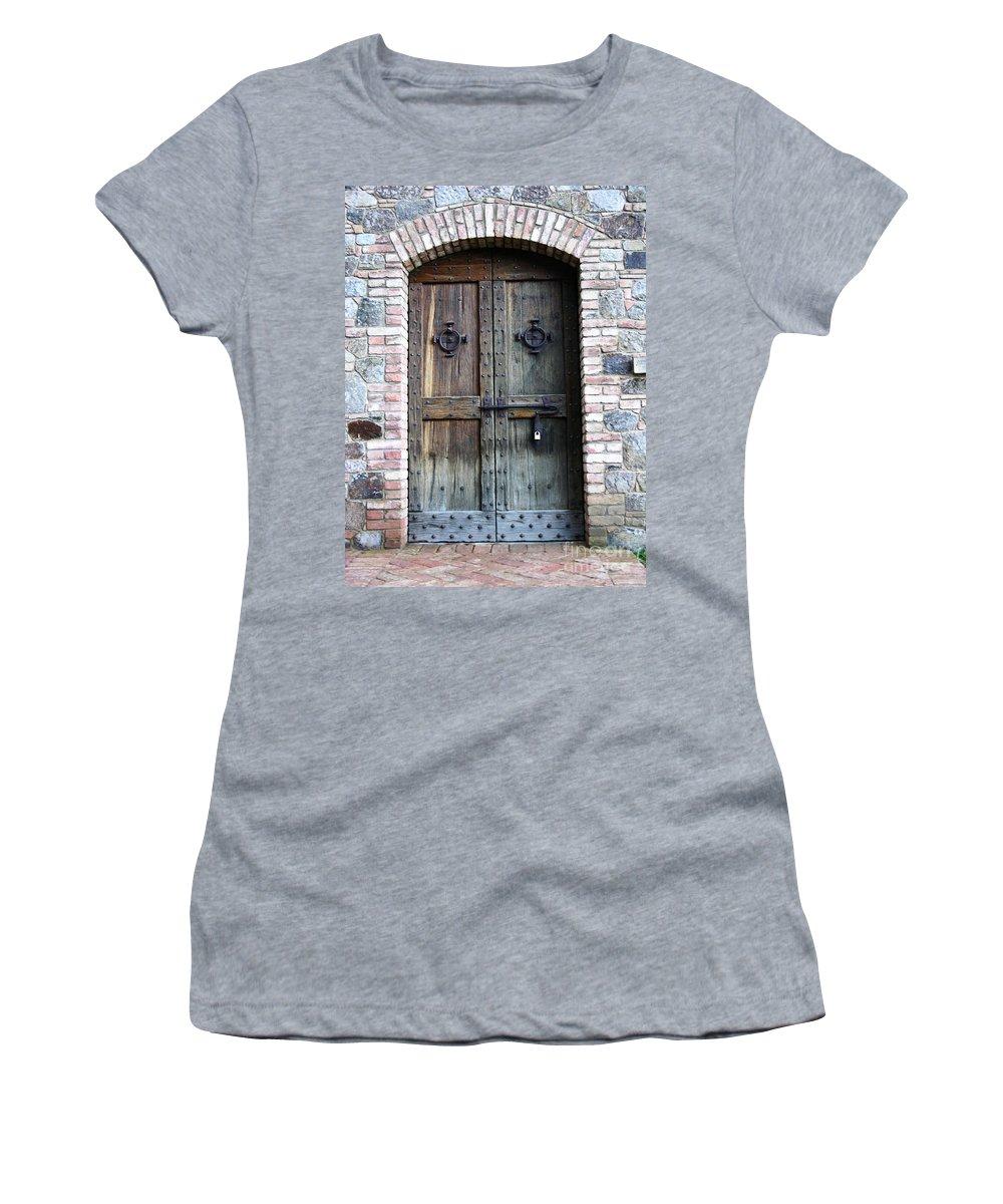 Door Women's T-Shirt featuring the photograph Medieval Door by Carol Groenen