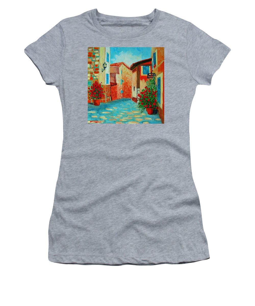 Mediterranean Women's T-Shirt (Athletic Fit) featuring the painting Mediterranean Street by Ana Maria Edulescu