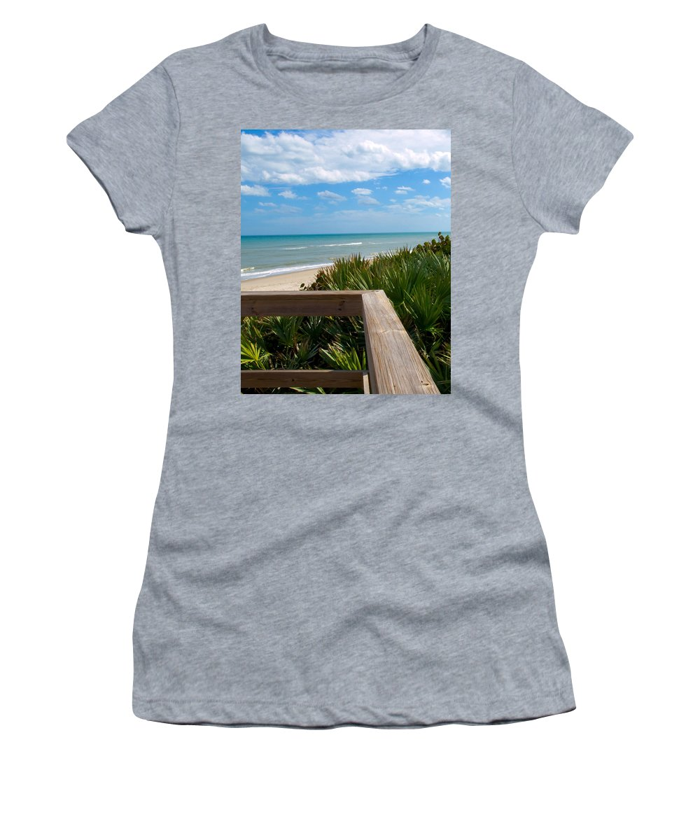 Beach; February; Florida; Warm; Warmth; Temperature; Degrees; Weather; Sun; Melbourne; Sand; Shore; Women's T-Shirt featuring the photograph Melbourne Beach In Florida by Allan Hughes