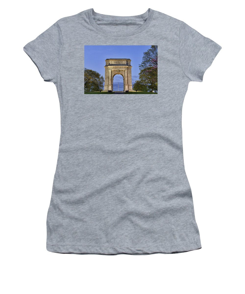American Revolutionary War Women's T-Shirt (Athletic Fit) featuring the photograph Memorial Arch Valley Forge by John Greim