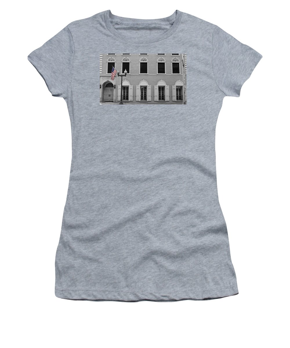 Roanoke Women's T-Shirt (Athletic Fit) featuring the photograph Memorial Day Flag Roanoke Virginia by Teresa Mucha
