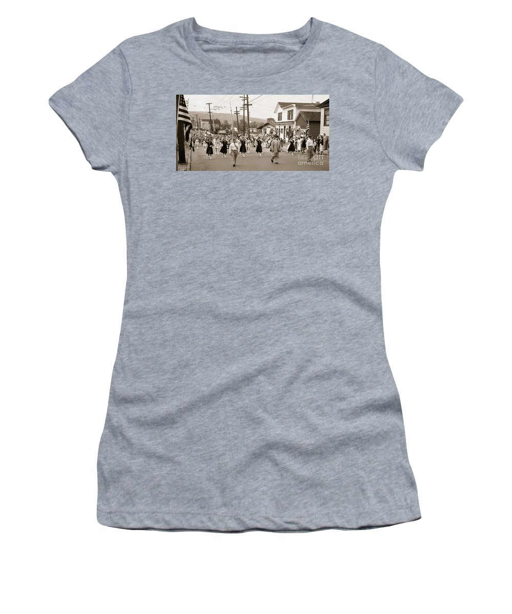 Wilkes Barre Women's T-Shirt featuring the photograph Memorial Day Parade Ashley Pa With Train Station And The Huber Colliery In Background 1955 by Arthur Miller