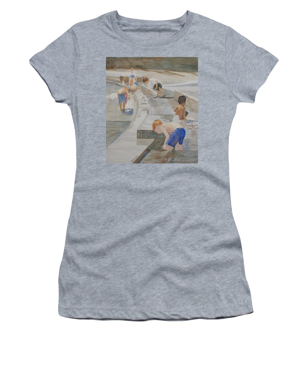 Boys Women's T-Shirt (Athletic Fit) featuring the painting Memorial Day Waterworks by Jenny Armitage