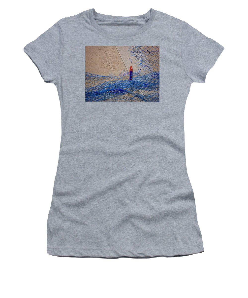 Fishing Net Women's T-Shirt featuring the photograph Mending The Net by Charles Stuart