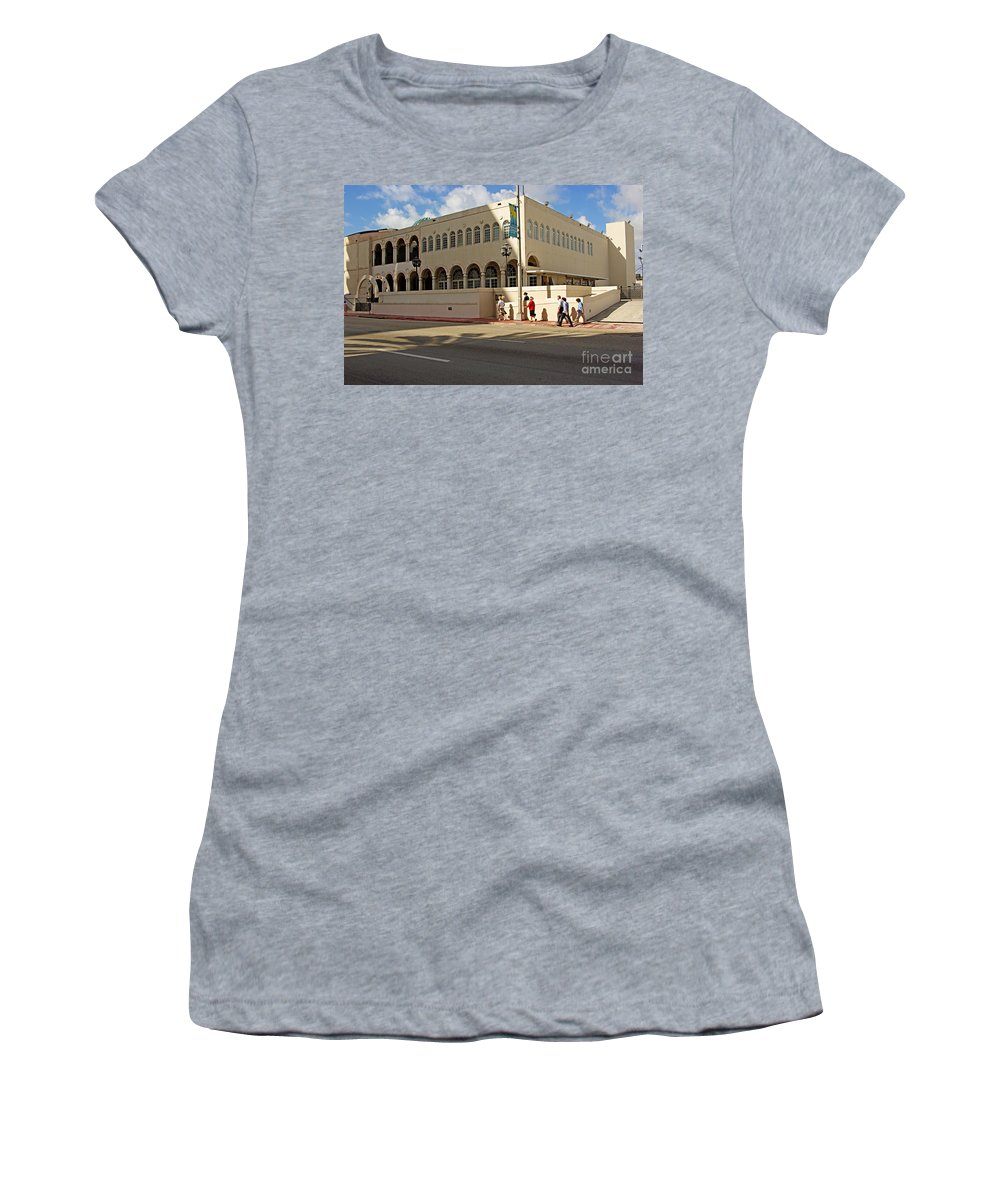 Synagogue Women's T-Shirt (Athletic Fit) featuring the photograph Miami Beach Synagogue Saturday Morning by Zalman Latzkovich