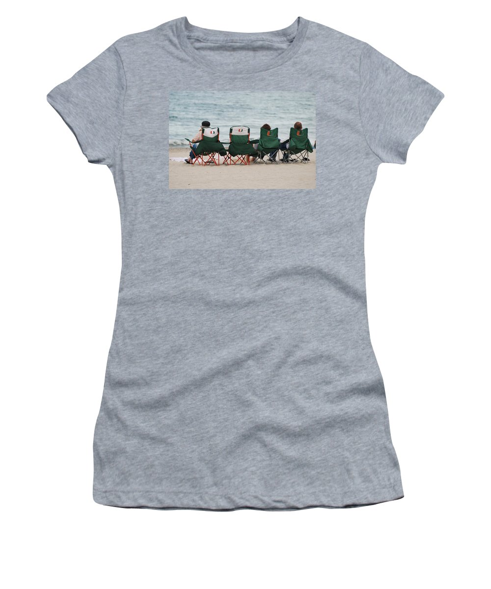 University Of Miami Women's T-Shirt (Athletic Fit) featuring the photograph Miami Hurricane Fans by Rob Hans