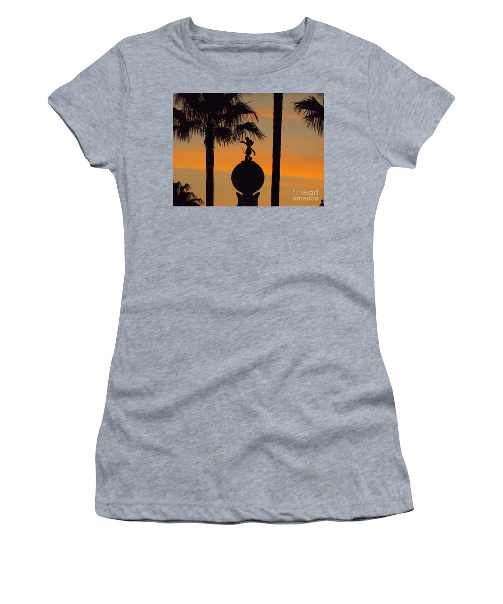 Silhouette Women's T-Shirt (Athletic Fit) featuring the photograph Mickey Mouse Sihouette by Erick Schmidt