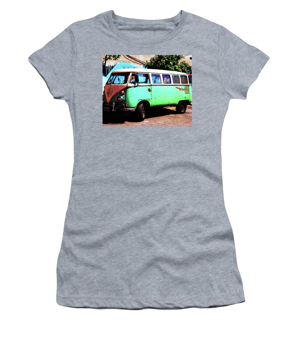 Bus Women's T-Shirt (Athletic Fit) featuring the digital art Microbus by Christopher Fuller