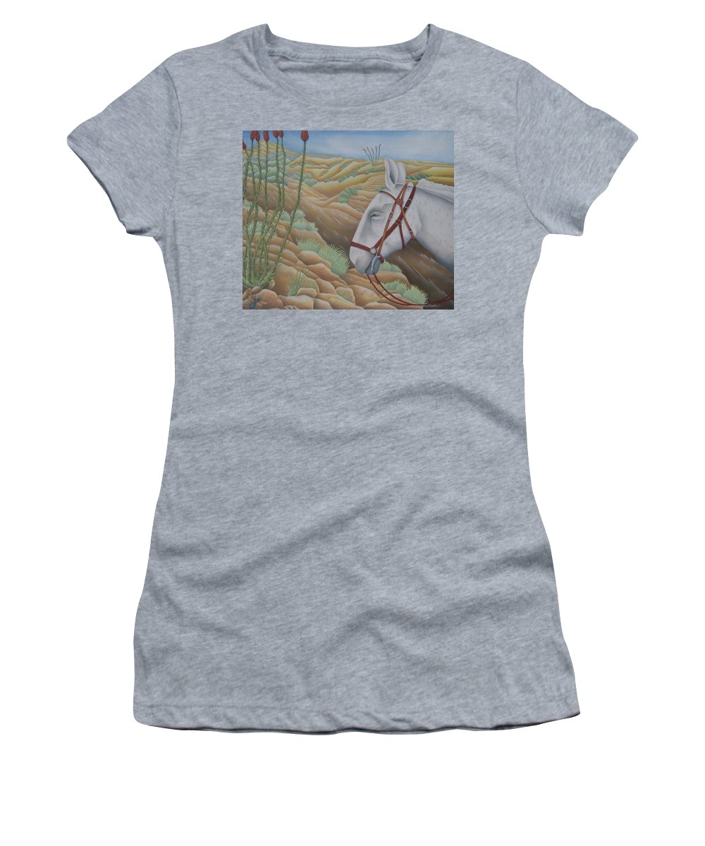 Burro Women's T-Shirt featuring the painting Miner's Companion by Jeniffer Stapher-Thomas