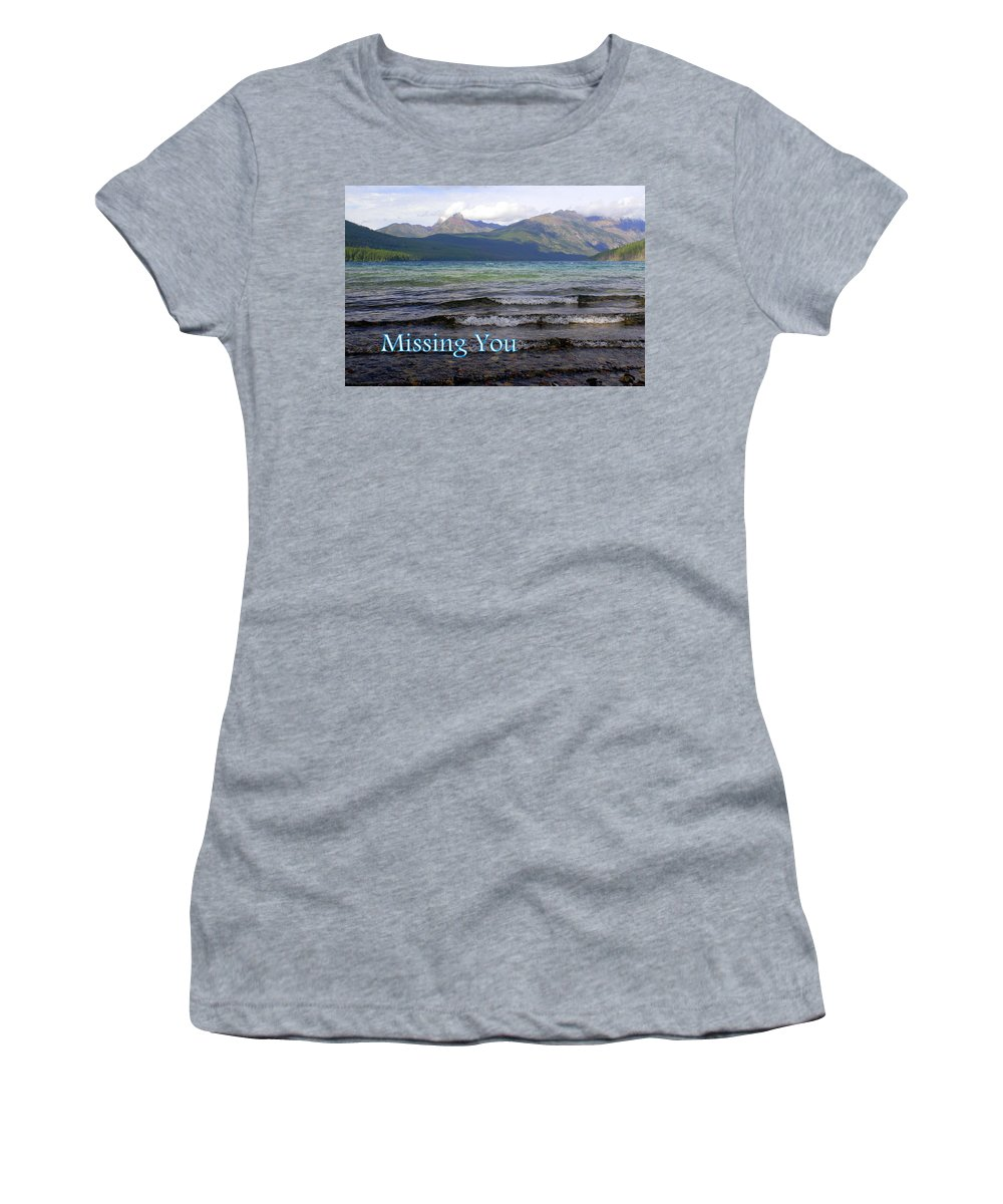 Greeting Card Women's T-Shirt (Athletic Fit) featuring the greeting card Missing You 1 by Marty Koch