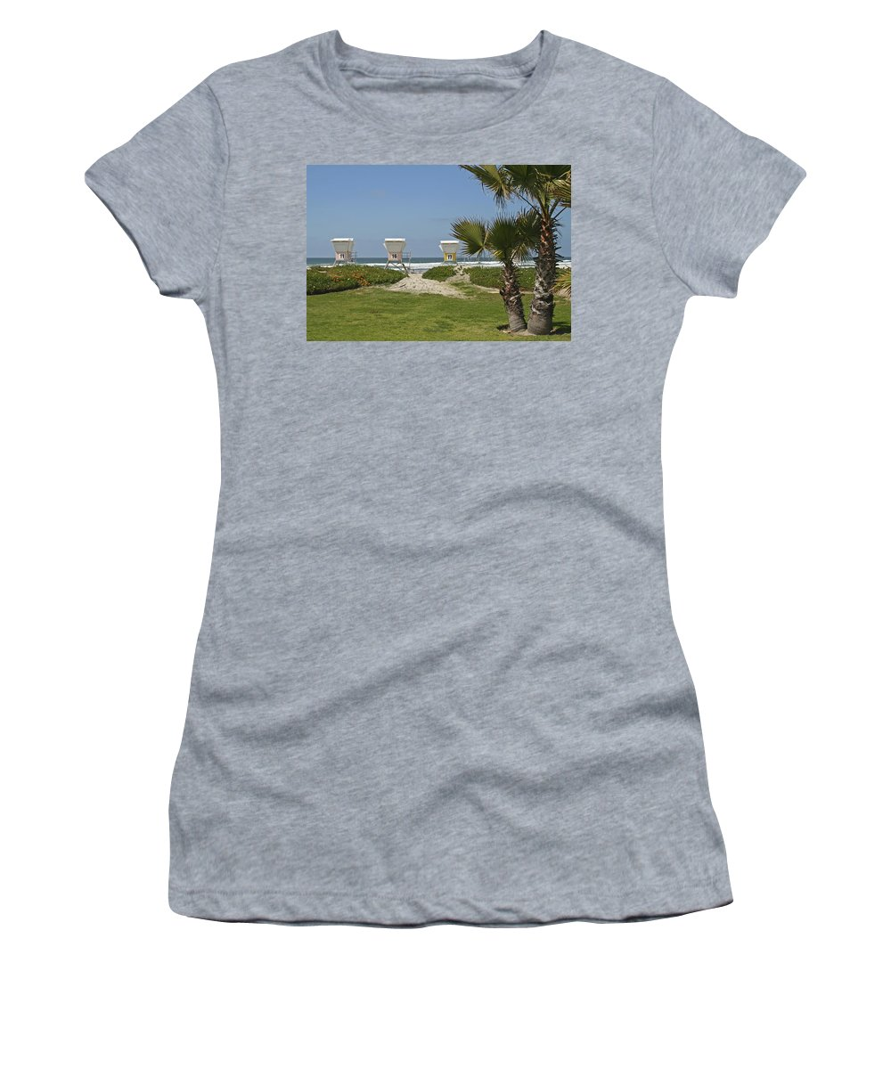 Beach Women's T-Shirt featuring the photograph Mission Beach Shelters by Margie Wildblood