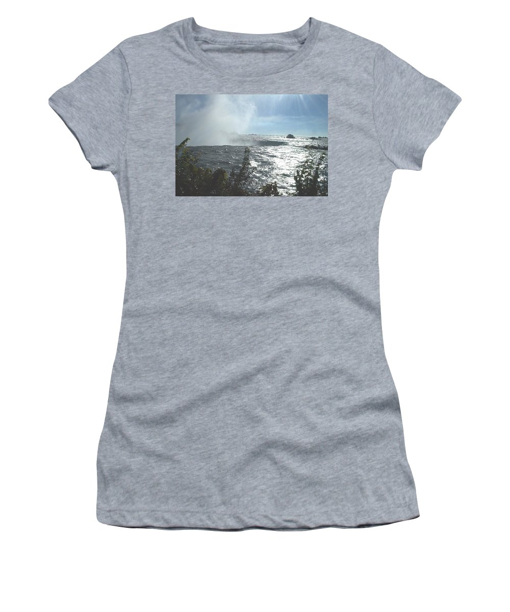 Landscape Women's T-Shirt featuring the photograph Mist At The Falls by Debbie Levene
