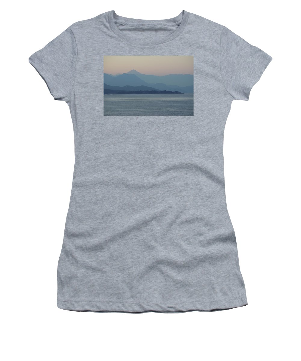 Women's T-Shirt featuring the photograph Misty Hills On The Strait by Cindy Johnston