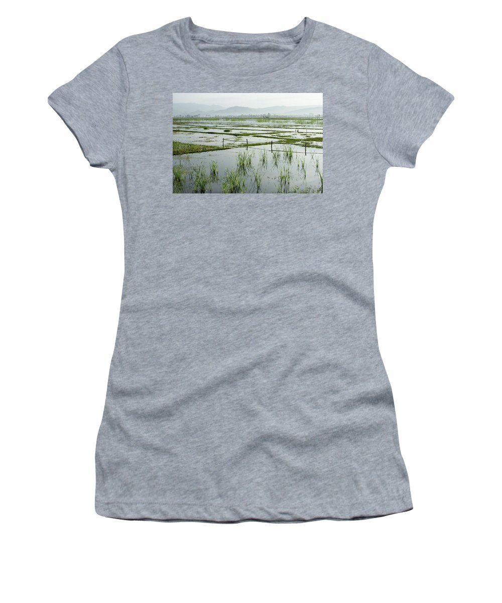 Asia Women's T-Shirt featuring the photograph Misty Morning In China by Michele Burgess
