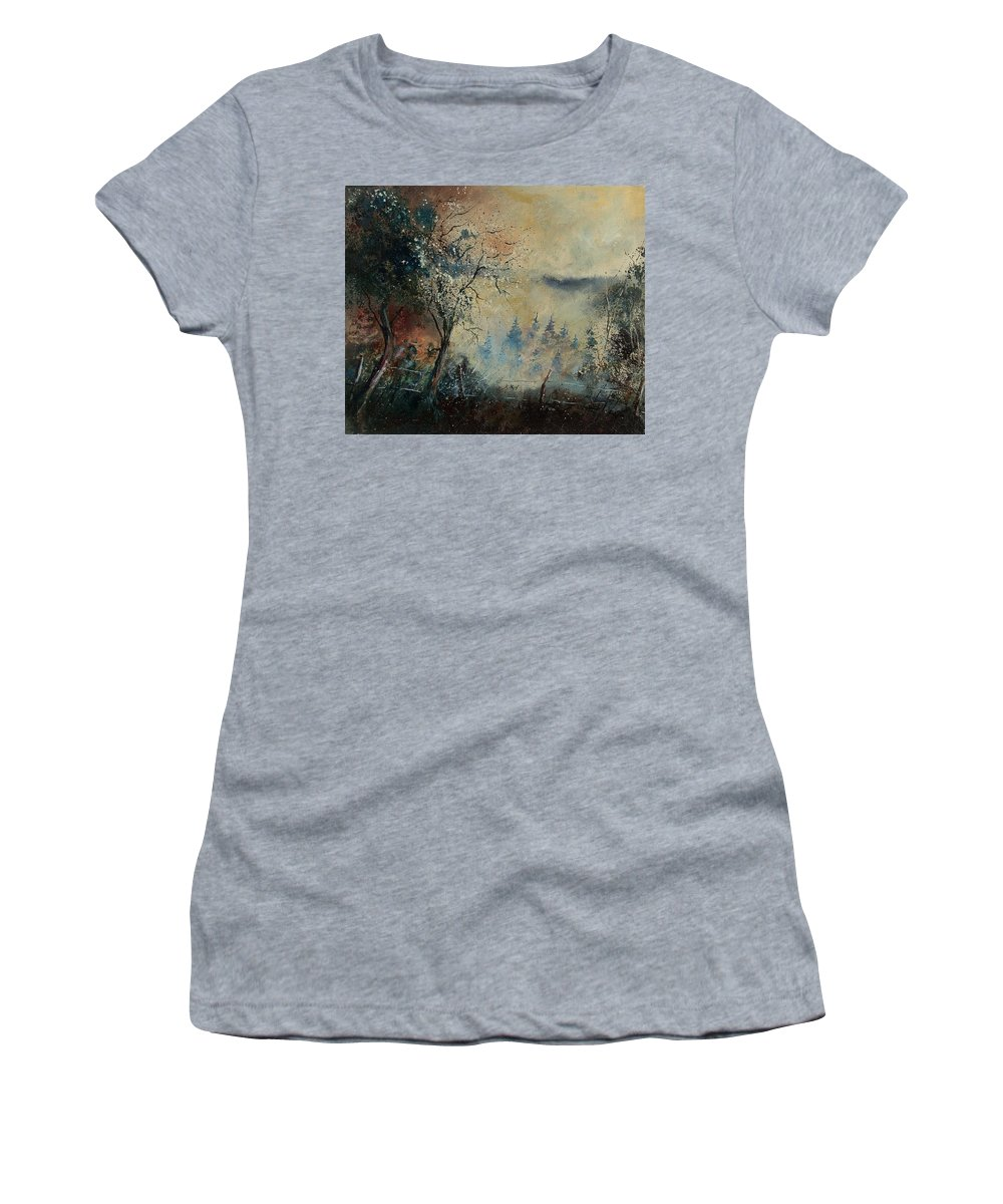 Tree Women's T-Shirt (Athletic Fit) featuring the painting Misty Morning by Pol Ledent