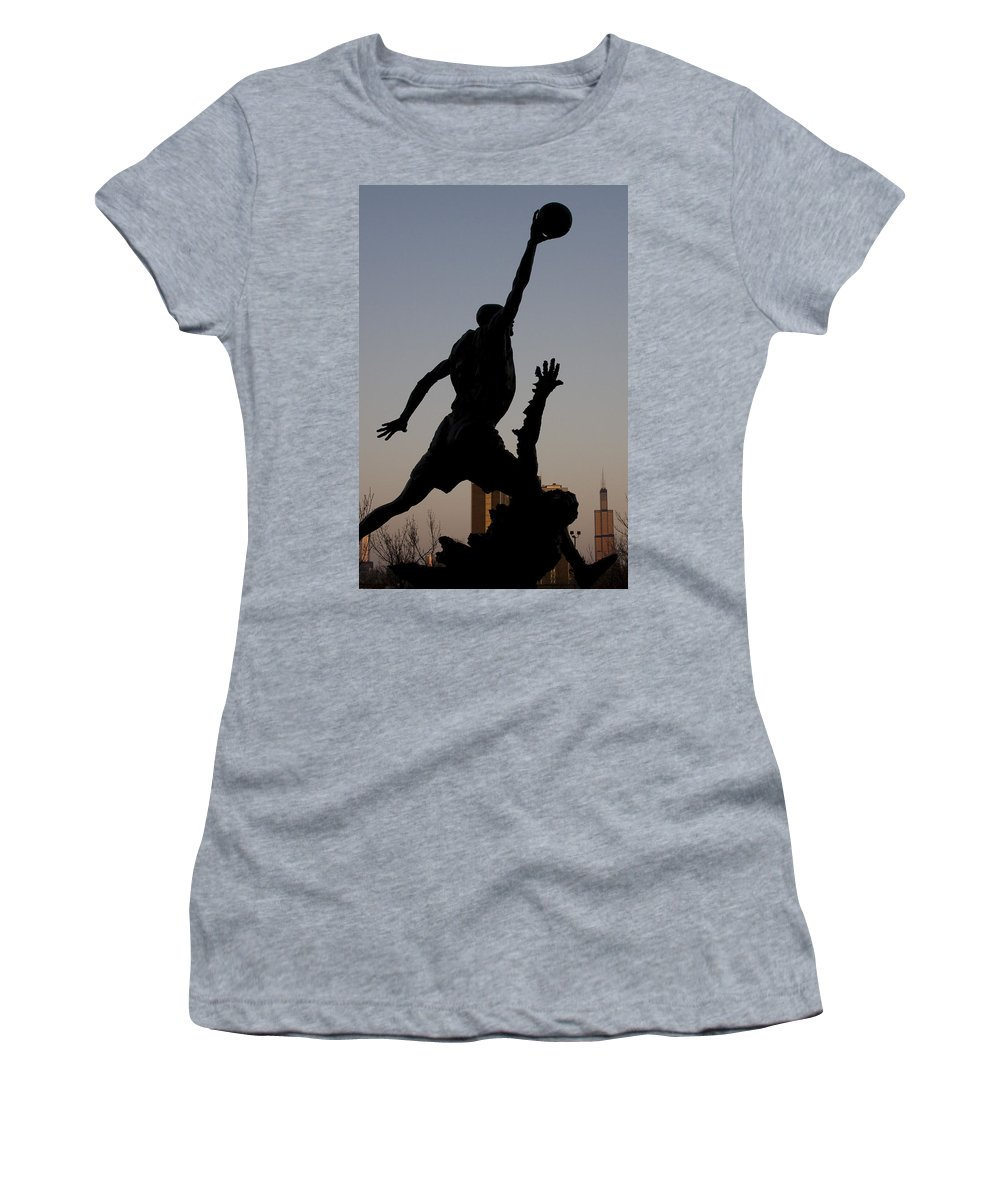 Chicago United Center Mj Micheal Jordan 23 Dark Basketball Women's T-Shirt (Athletic Fit) featuring the photograph MJ by Andrei Shliakhau