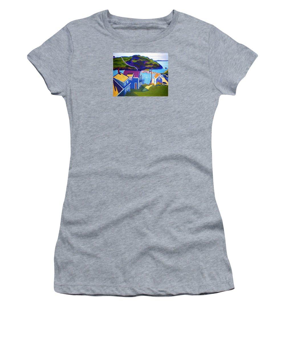 Seascape Women's T-Shirt featuring the painting Monhegan Harbor by Debra Bretton Robinson