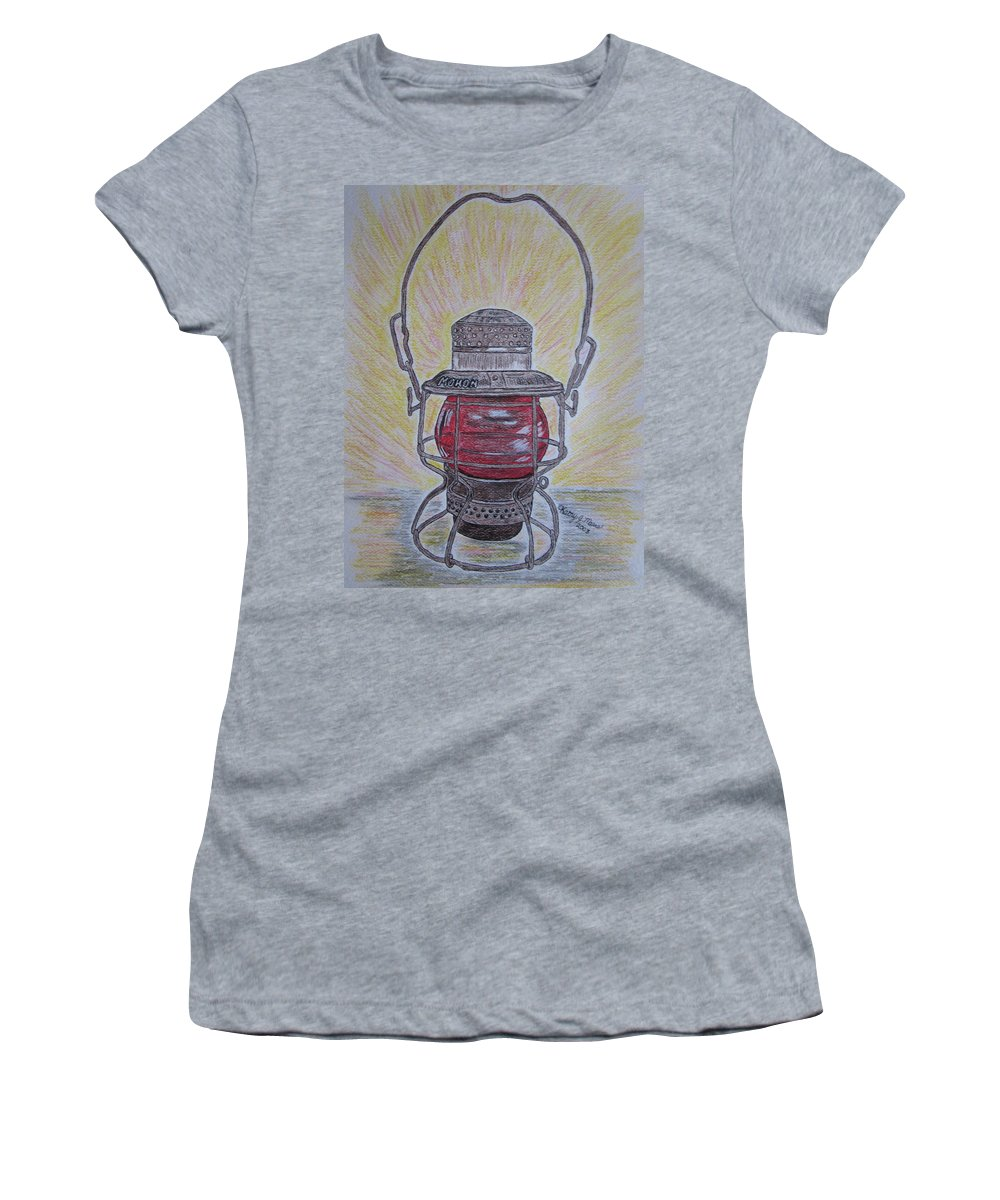Monon Women's T-Shirt (Athletic Fit) featuring the painting Monon Red Globe Railroad Lantern by Kathy Marrs Chandler