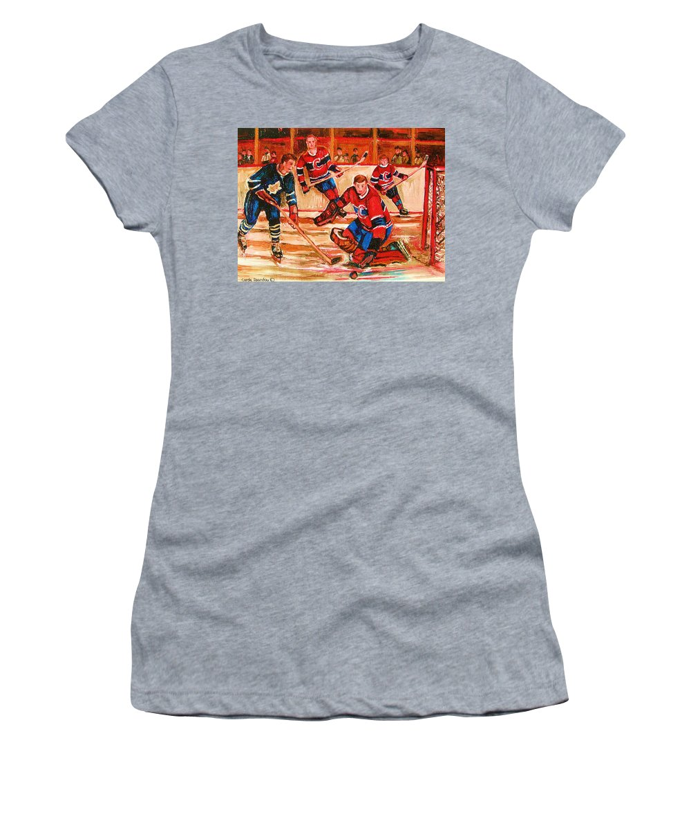 Montreal Forum Hockey Women's T-Shirt (Athletic Fit) featuring the painting Montreal Forum Hockey Game by Carole Spandau