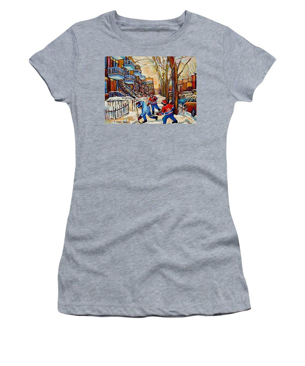 Montreal Hockey Game With 3 Boys Women's T-Shirt featuring the painting Montreal Hockey Game With 3 Boys by Carole Spandau