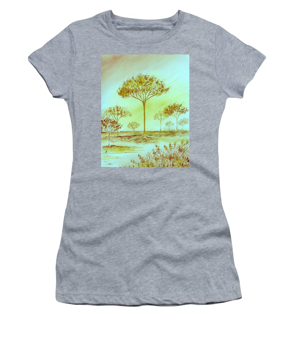 Original Women's T-Shirt (Athletic Fit) featuring the painting Moody Woods by Brenda Owen