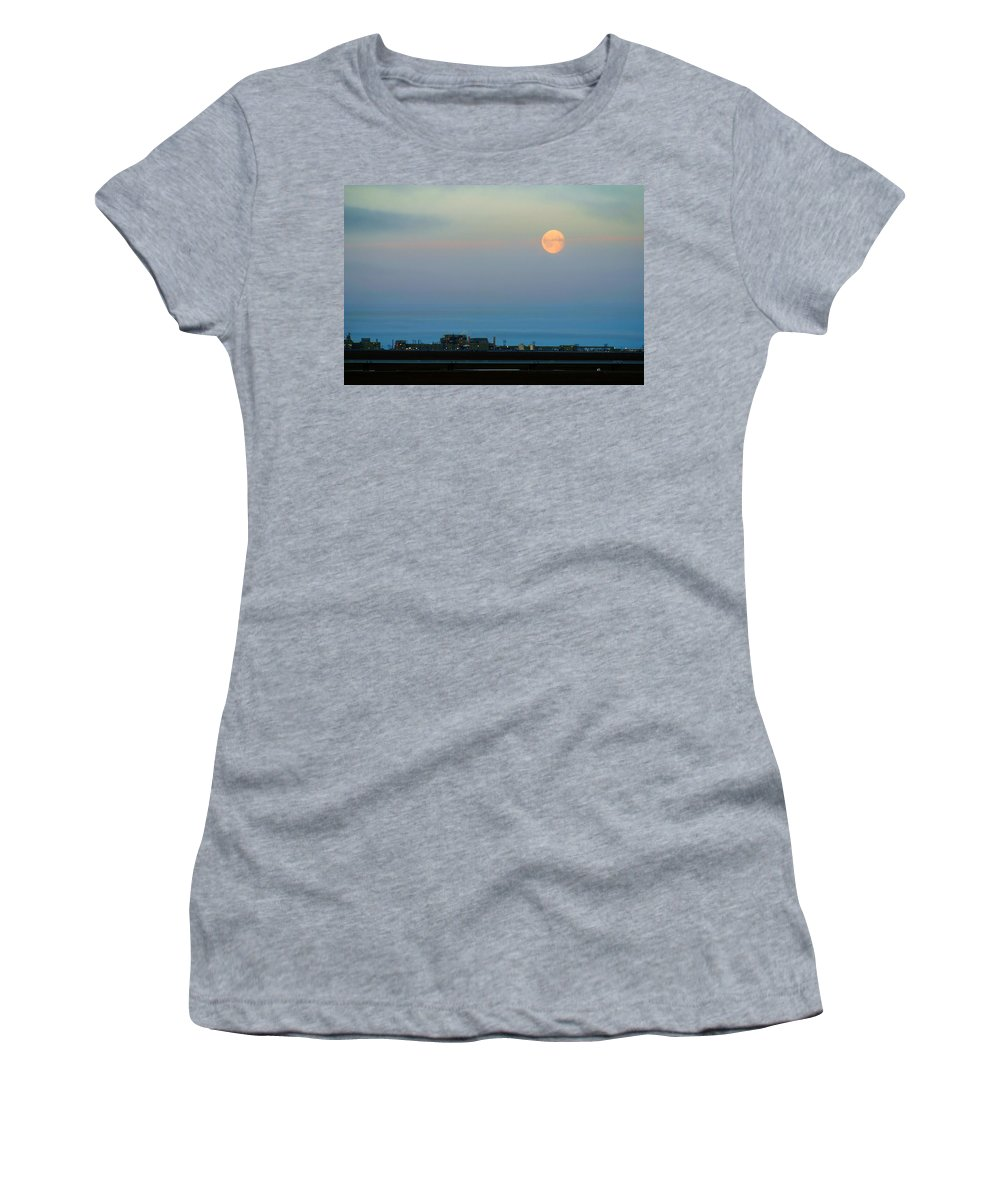 Landscape Women's T-Shirt (Athletic Fit) featuring the photograph Moon Over Flow Station 1 by Anthony Jones