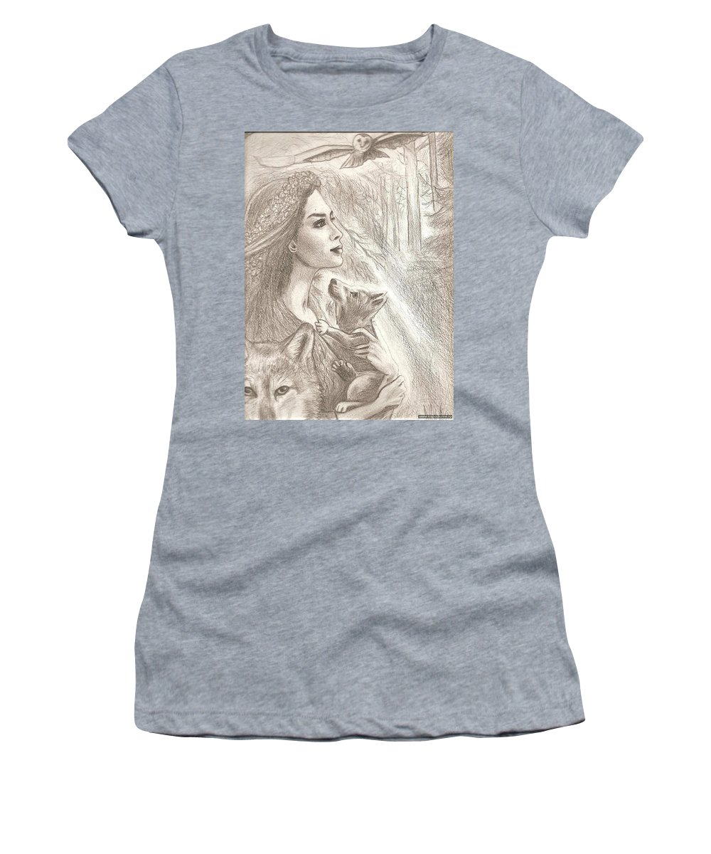 Pencil Drawing Women's T-Shirt (Athletic Fit) featuring the drawing Moonlight by Nelly Skeen