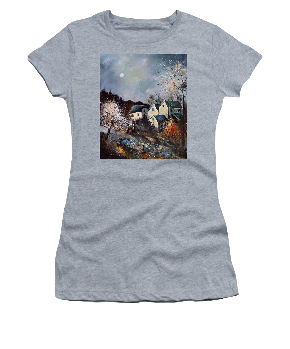 Village Women's T-Shirt featuring the painting Moonshine by Pol Ledent