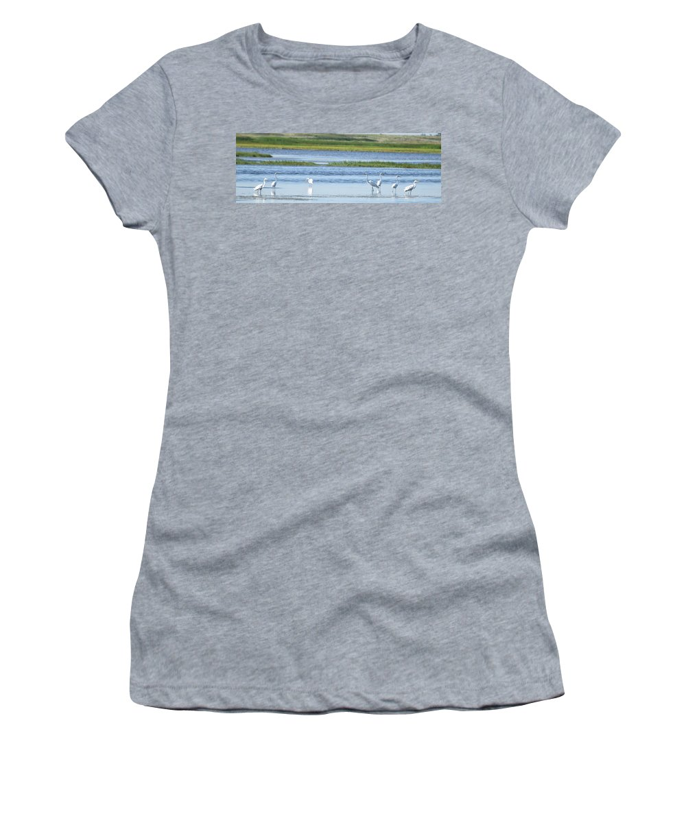 Great Egrets Women's T-Shirt featuring the photograph Morning At The Refuge by Linda Benoit