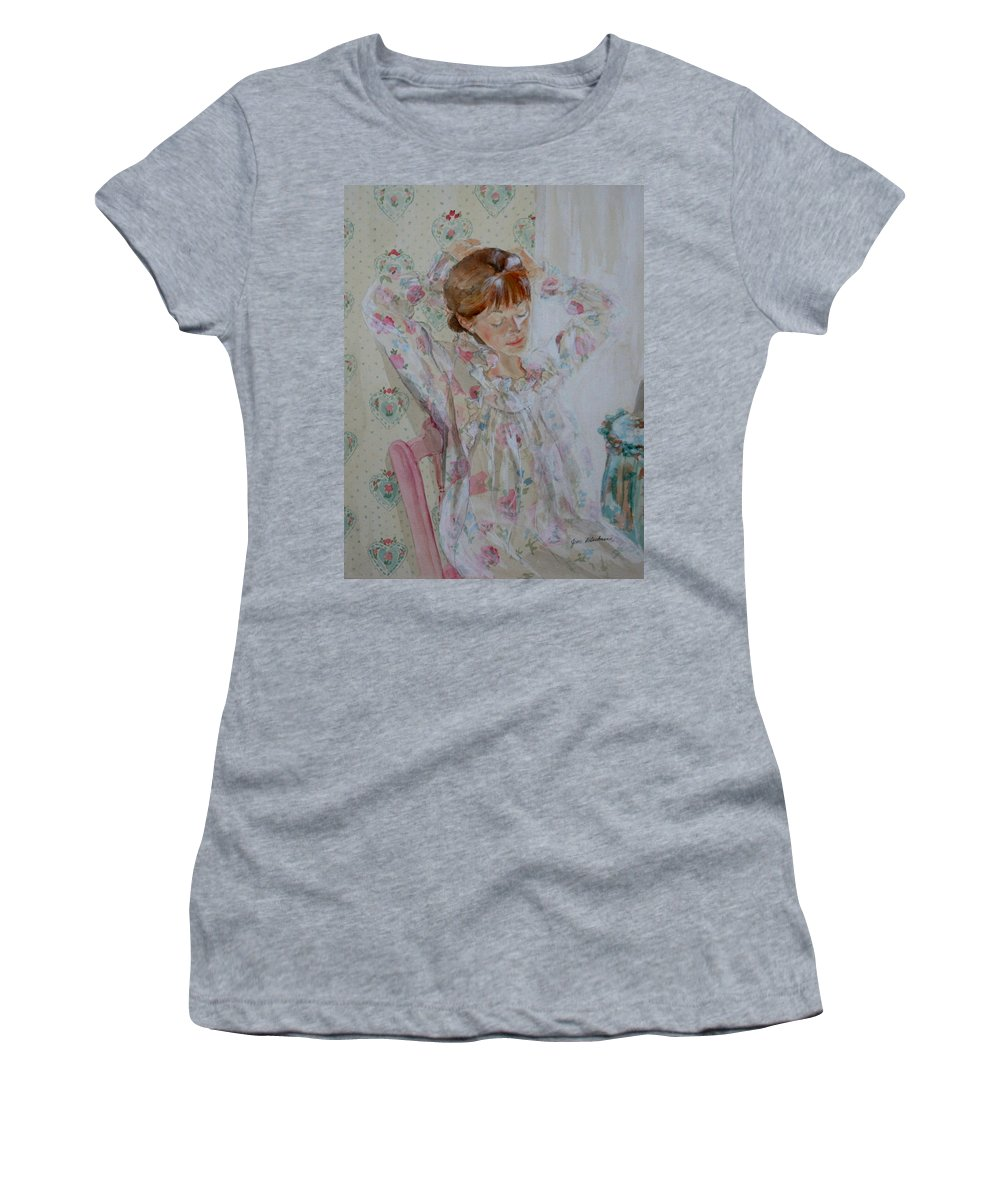 Morning Women's T-Shirt (Athletic Fit) featuring the painting Morning Ritual by Jean Blackmer