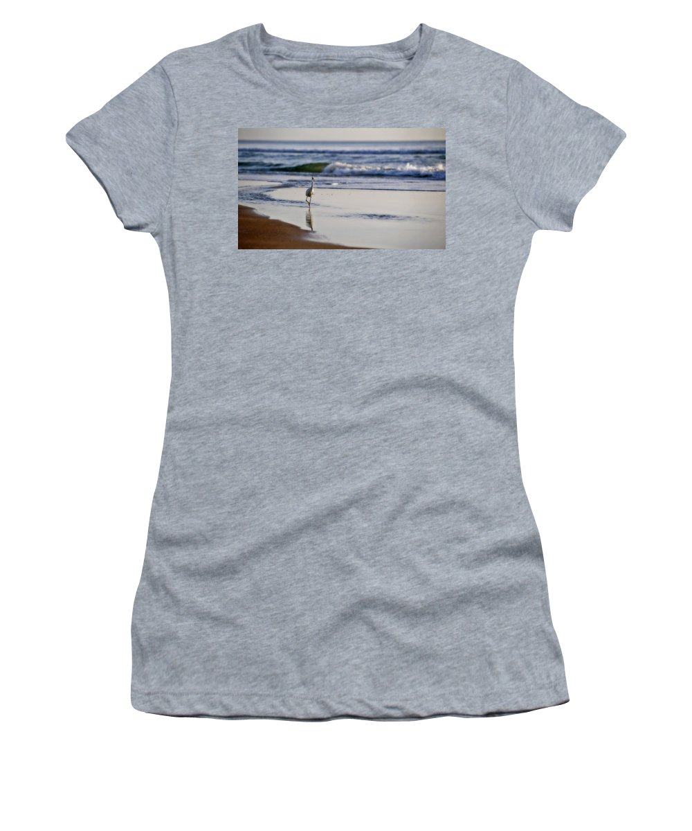 Bird Women's T-Shirt (Athletic Fit) featuring the photograph Morning Walk At Ormond Beach by Steven Sparks