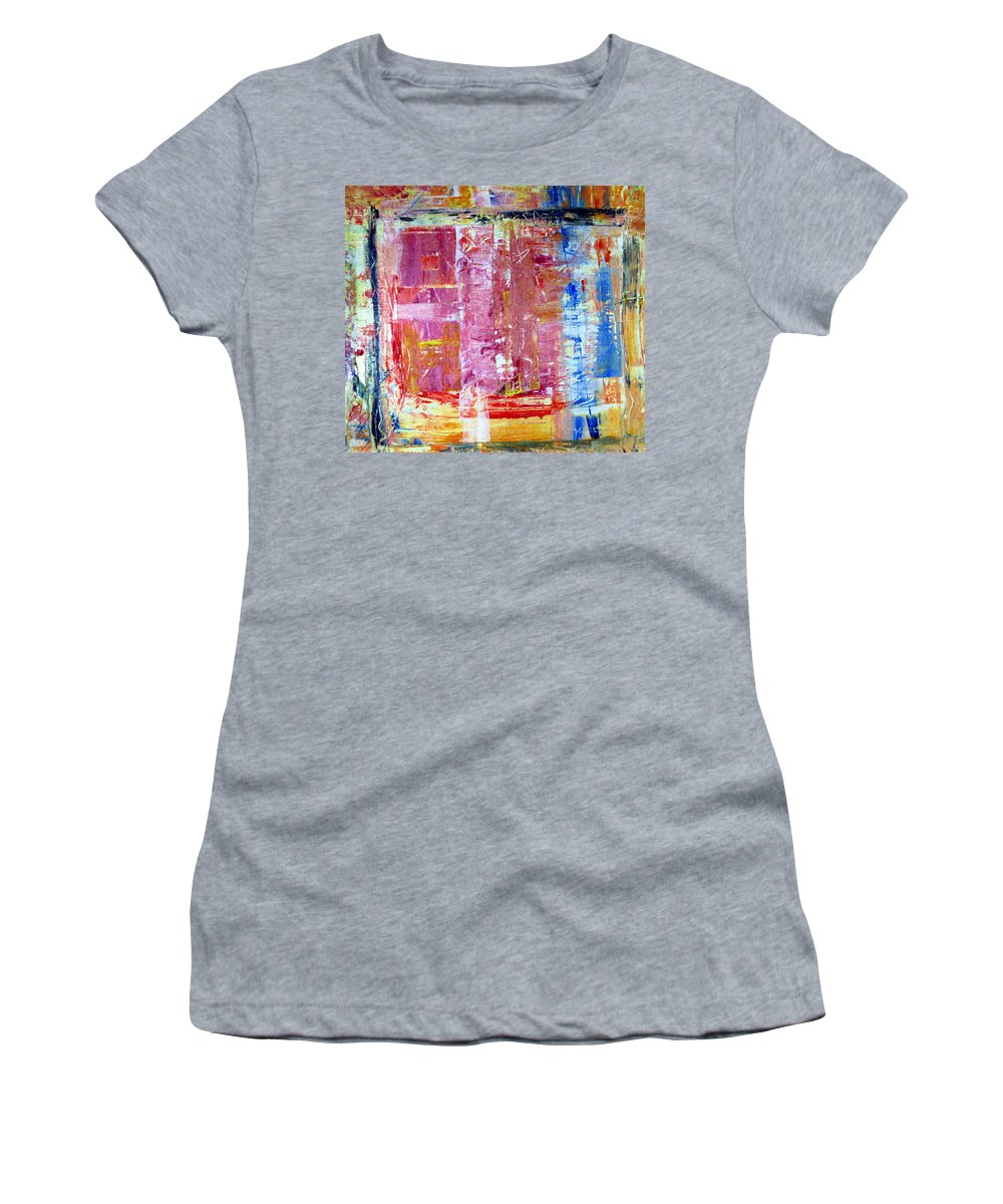 Abstract Women's T-Shirt (Athletic Fit) featuring the painting Morning by Wayne Potrafka