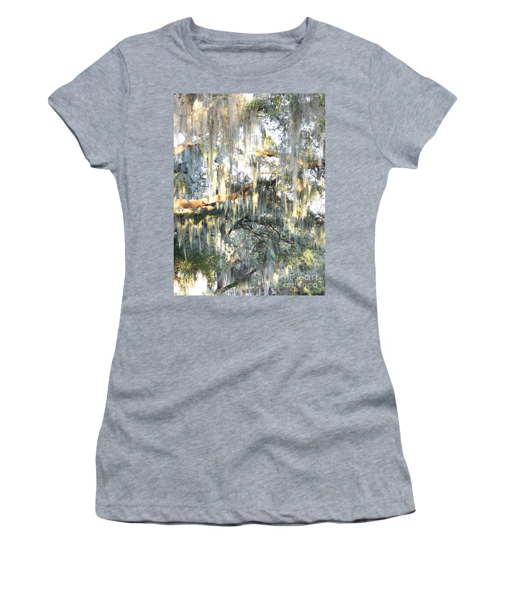 Spanish Moss Women's T-Shirt (Athletic Fit) featuring the photograph Mossy Live Oak by Carol Groenen
