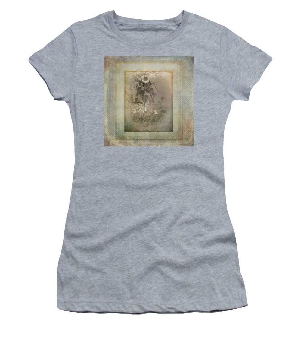 Sunflowers Women's T-Shirt featuring the photograph Mother And Child Reunion Vintage Frame by Susan Capuano
