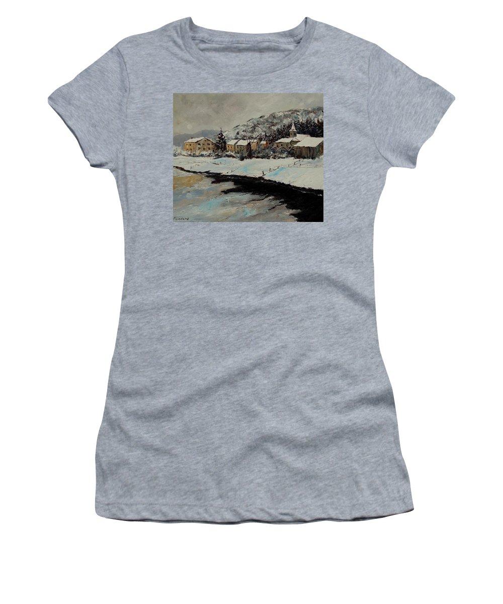 Landscape Women's T-Shirt (Athletic Fit) featuring the painting Mouzaive by Pol Ledent