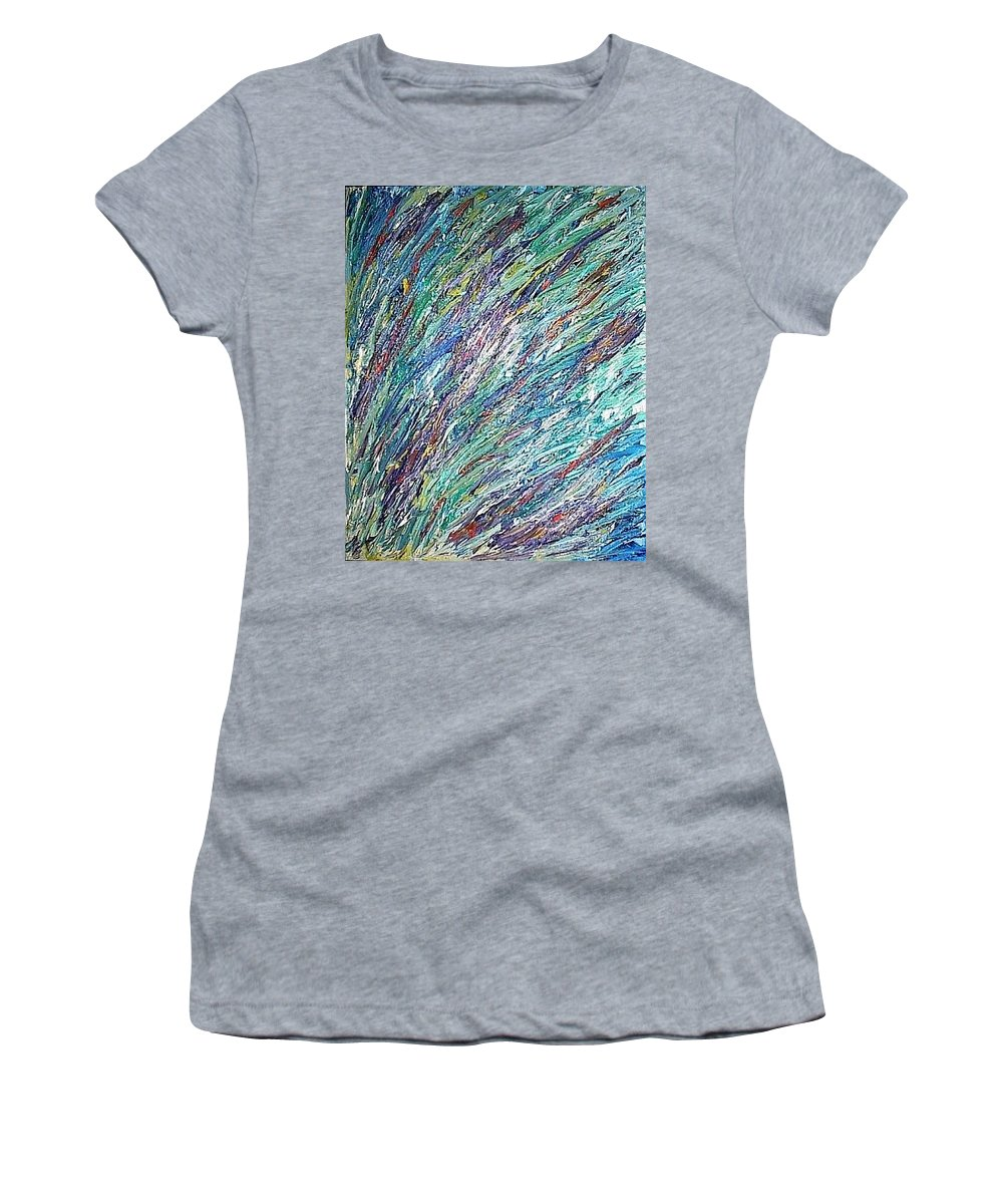 Moveonart Digital Gallery San Francisco California Lower Nob Hill Jacob Kane Kanduch Women's T-Shirt (Athletic Fit) featuring the painting Moveonart Mode Spring San Francisco by Jacob Kanduch