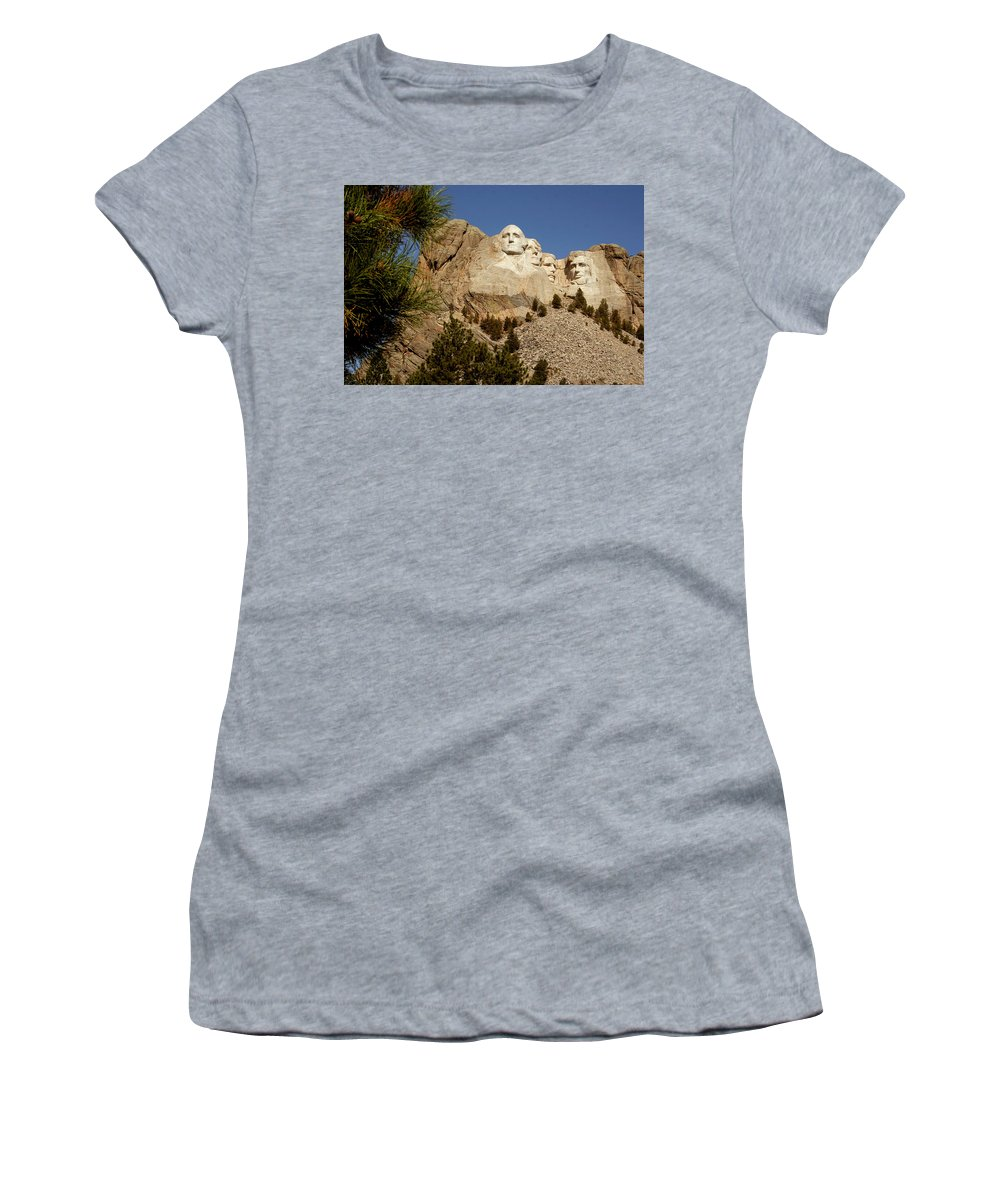 Mount Rushmore Women's T-Shirt (Athletic Fit) featuring the photograph Mt Rushmore II by Mike Oistad