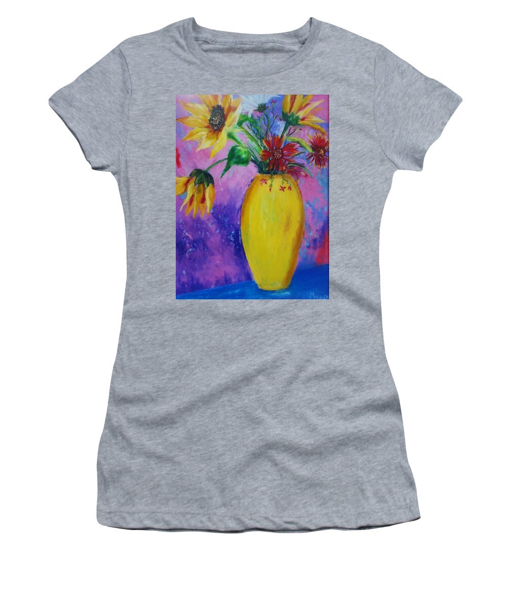 Sunflowers Women's T-Shirt (Athletic Fit) featuring the painting My Flowers by Melinda Etzold