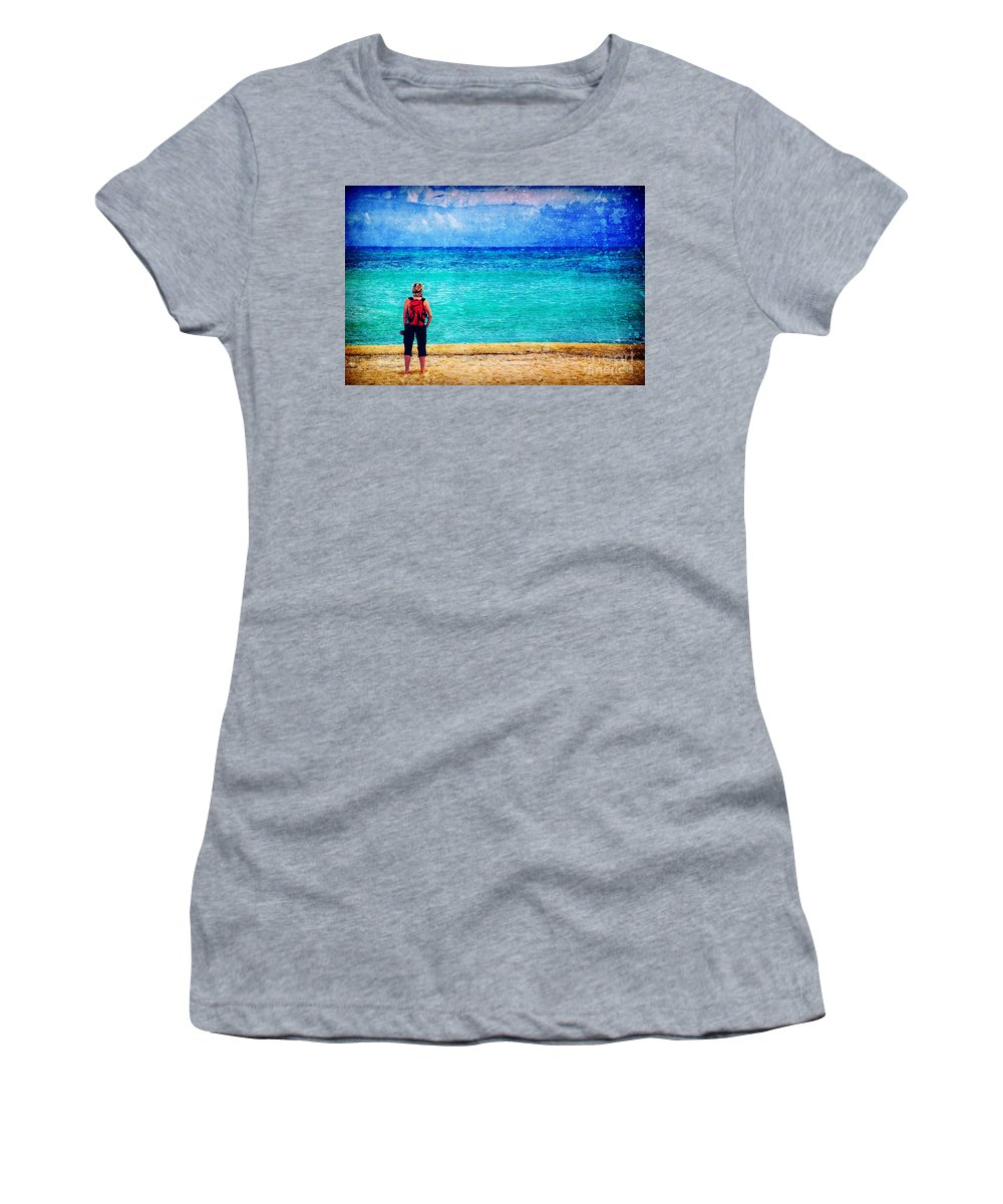 Sea Women's T-Shirt (Athletic Fit) featuring the photograph My Thoughts Are Like Sea Waves by Silvia Ganora