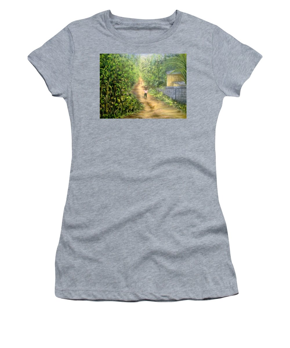 Culture Women's T-Shirt featuring the painting My Village by Olaoluwa Smith