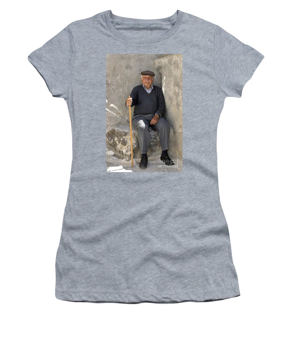Man Women's T-Shirt (Athletic Fit) featuring the photograph Mykonos Man With Walking Stick by Madeline Ellis