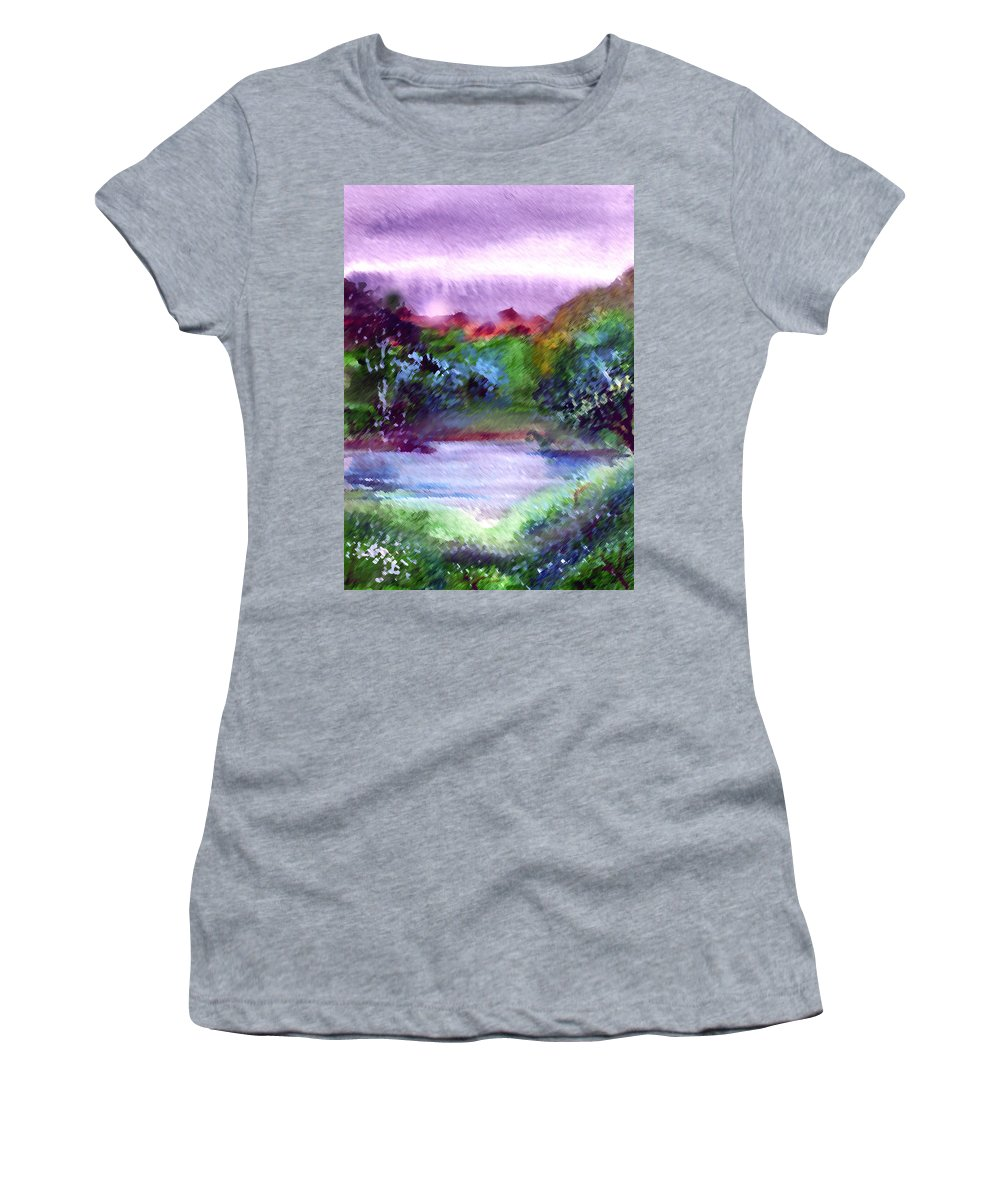 Lake Women's T-Shirt featuring the painting Mystic Lake by Anil Nene