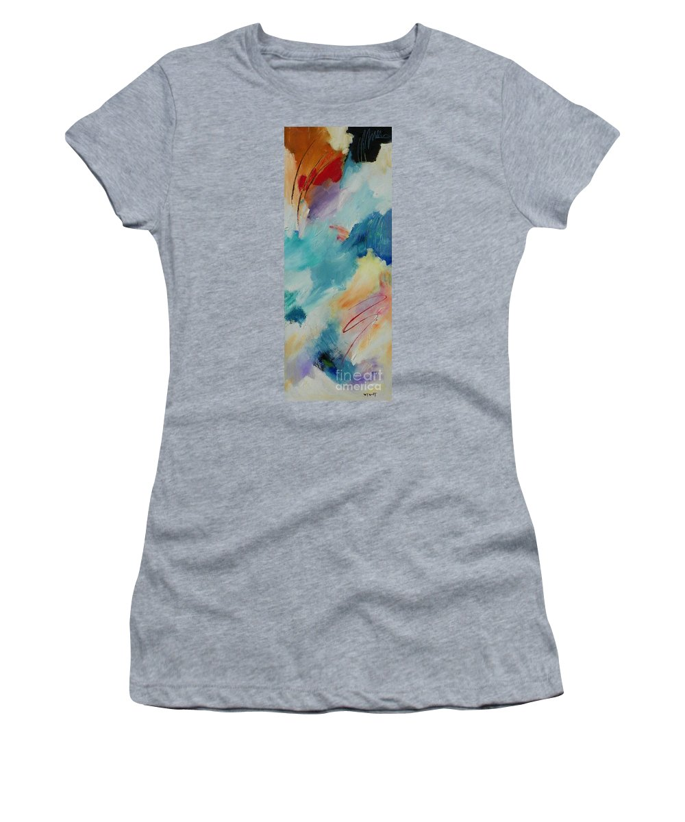 Abstract Expressionism Women's T-Shirt (Athletic Fit) featuring the painting Mystic Mood 001 by Donna Frost