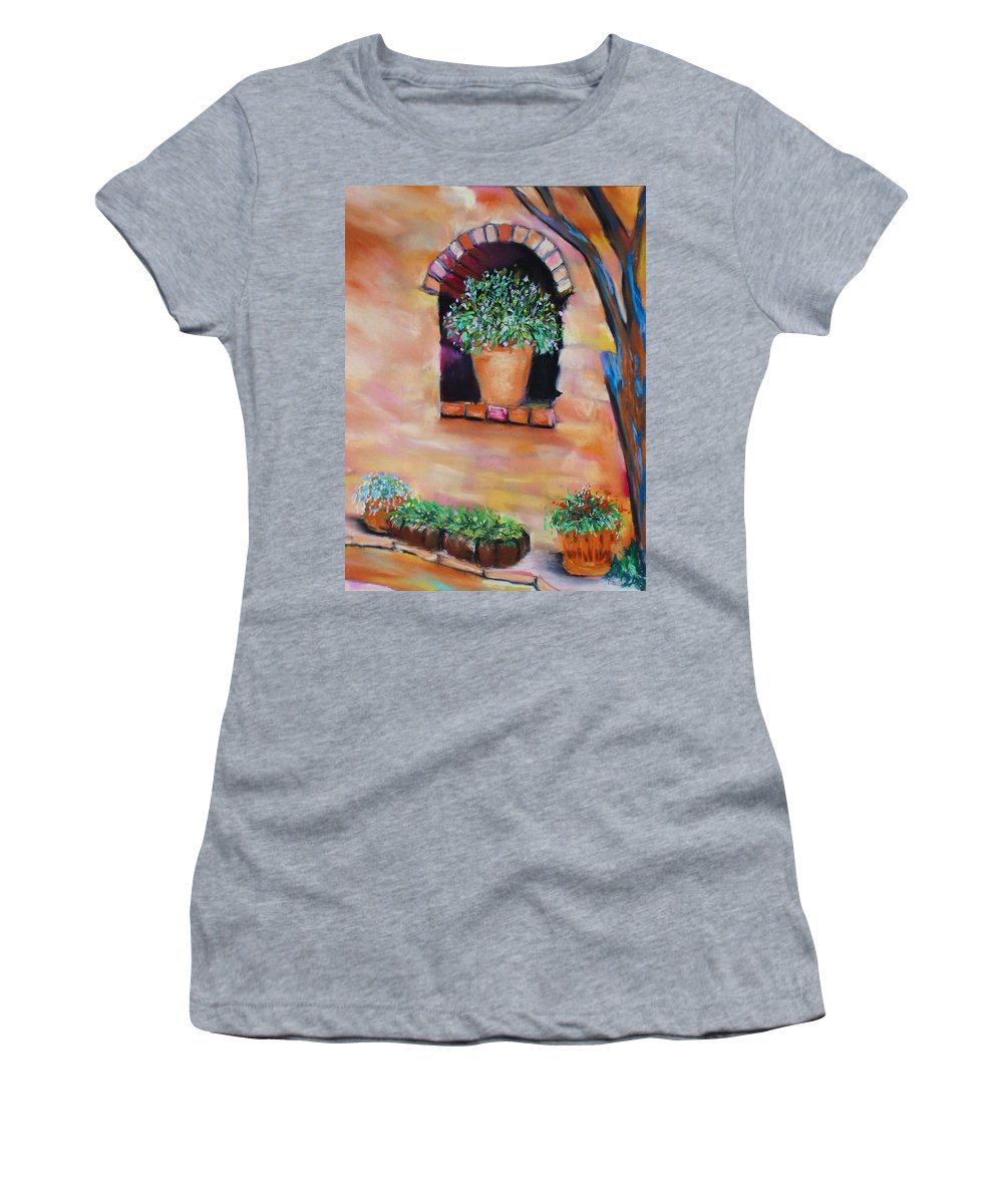 Courtyard Women's T-Shirt (Athletic Fit) featuring the painting Nash's Courtyard by Melinda Etzold